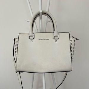 Michael Kors Selma MD Top Zip Satchel Leather-white